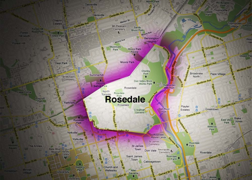 Map of Rosedale Neighbourhood