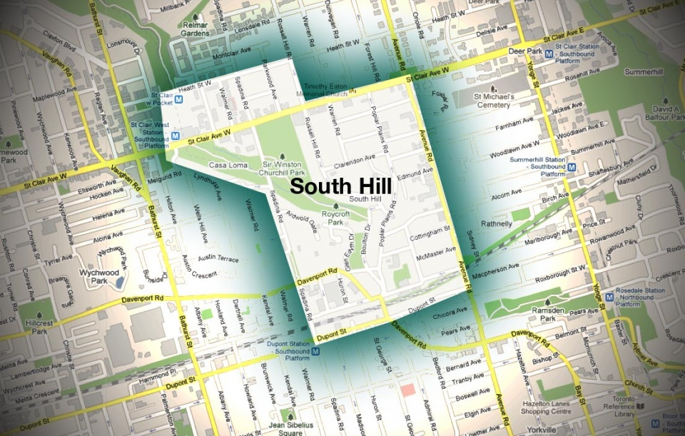 Map of South Hill Neighourhood