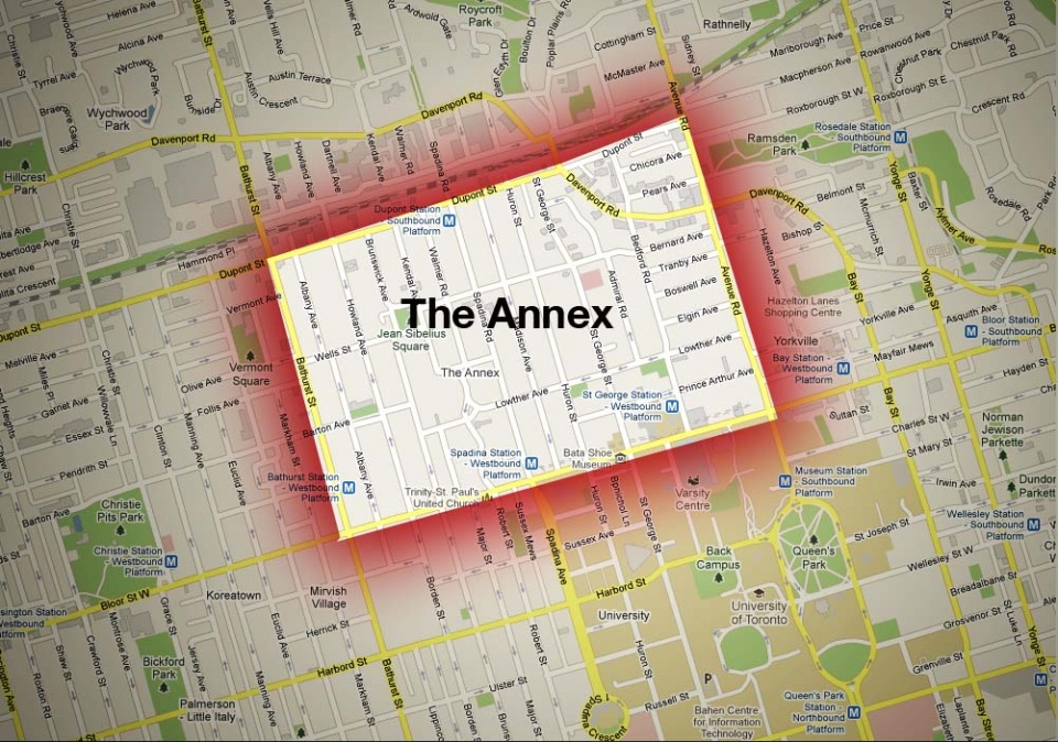 Map of The Annex Neighbourhood