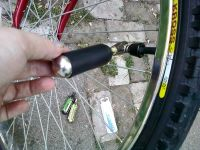Tiny bike tire pump by Michelle Morgan