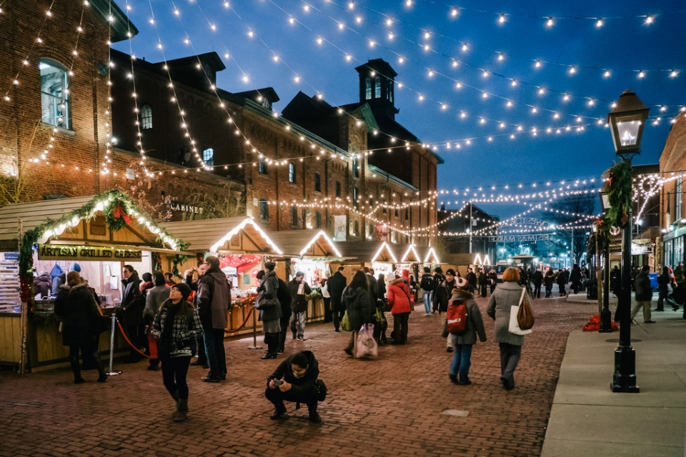 The annual Toronto Christmas market is a magical place after dark