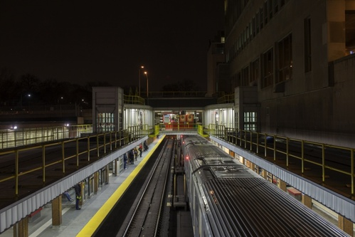 Overlooking TTC station at night