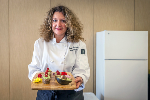 Chef Claudia Gaviria Presenting the Food from the Show