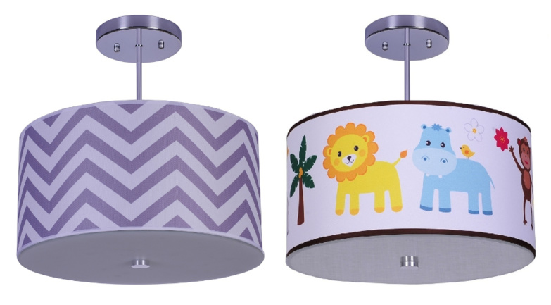 Firefly Kids Lighting Grey Chevron and Jungle Animals Light Fixtures