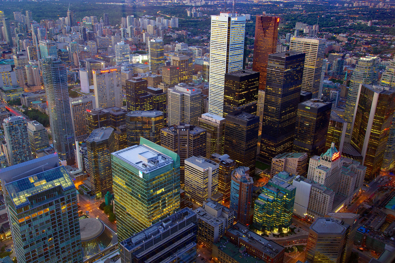 Torontos Financial District from the CN Tower by Jiuguang Wang