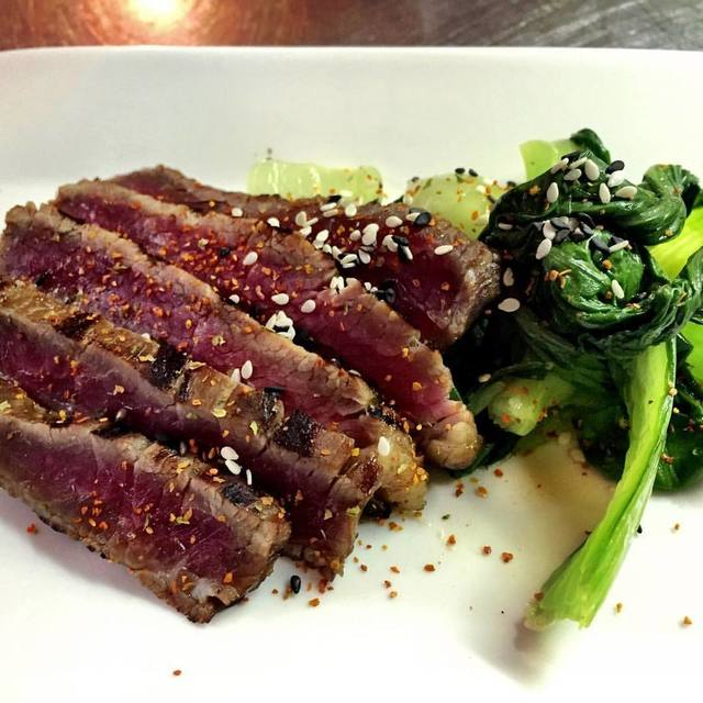 Marinated flank Steak, Tahina, Bokchoy, Togarashi