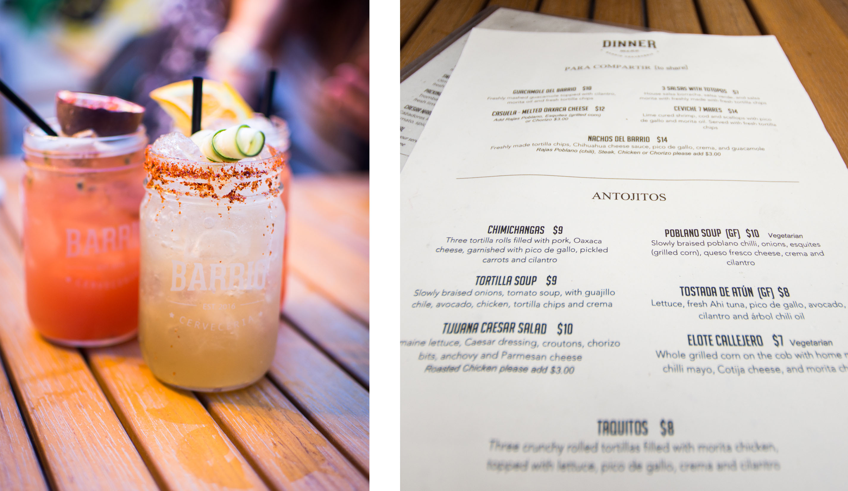Barrio menu and their drinks